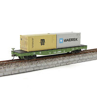 HO Scale US ARMY 52' Flat Car 1:87 2pcs 20ft Shipping Container Freight Car Lot