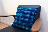 "Cushion made of British Rail ""provincial Blue""  Moquette Fabric"