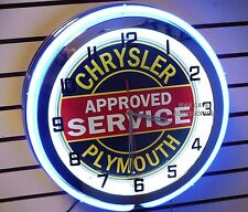 """18"""" CHRYSLER PLYMOUTH Approved Service Sign Double Neon Clock"""