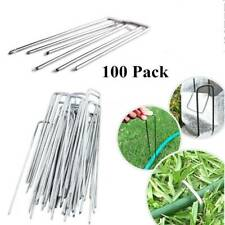 """100 6"""" Landscape Staples~SOD Staples Garden Stakes Weed Barrier Pins  LOT"""