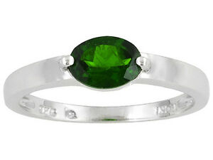 0.76 CTW CHROME DIOPSIDE RING ~ RHODIUM OVER 925 STERLING SILVER ~ SIZE 6