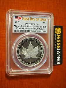 2019 $5 MODIFIED PROOF SILVER MAPLE LEAF PCGS PR70 FIRST DAY OF ISSUE FDI LABEL