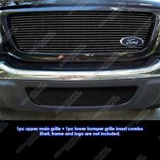 Fits 01-03 Ford Ranger XLT/XL 2WD Black Billet Grille Grill Combo Insert