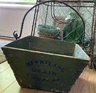 Primitive Heartland Grain Company Wooden Bucket Green W  Forged Iron Handle
