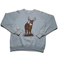 Vintage 80s Jerzees Men's Size Large Deer Crewneck Sweatshirt Double Sided Blue