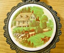 Vintage CURRIER & IVES OLD HOMESTEAD SUMMER Cast Iron Trivet Primitive Americana