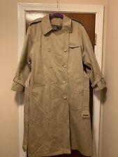 Vintage Women's 16 Pet. London Fog Trench Coat Khaki Belted W/Liner FS Charity