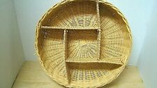 Large Round Wicker Basket w/5 Compartments Serving Basket Utensil Crafts Storage