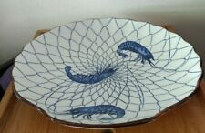 "Nautical Blue and White Shrimp or Prawn Shell Shaped Platter 12"" Width"