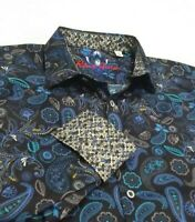 Robert Graham Men's L Colorful Paisley Floral Print Sport Shirt Black Blue NWT