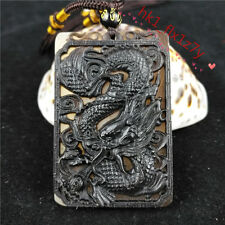 Chinese Hand Carving Ox Horn Pendant Necklace Charm Jewelry Lucky Dragon Amulet