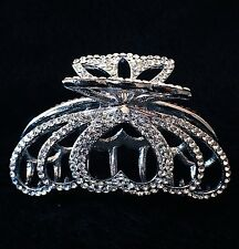 USA Hair Claw Clip use Swarovski Crystal Hairpin Large Wedding Heart Silver P01