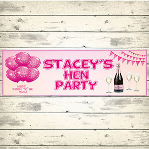 2 PERSONALISED 800mm x 297mm HEN PARTY BANNERS - ANY MESSAGE - ANY NAME