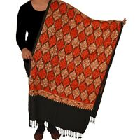Sanskriti New Indian Scarf Hand Embroidered Aari Work Polywool Shawl Black Stole