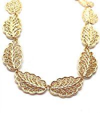 Neues AngebotGold aufwendige Pretty verknüpften Leaf Necklace