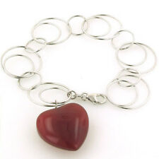 Sterling Silver Links Bracelet With Red Agate Heart