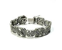 Bijou argent 925 bracelet manchette art déco nacre et marcassites bangle