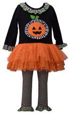Bonnie Jean Girl Halloween Pumpkin Tutu Legging Set