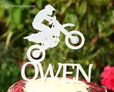 Personalised Name Birthday Cake Topper Decoration With Motor Cross Bike