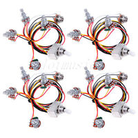 4* Wiring Harness 3 way Toggle Switch jack 500K Pot for Guitar Parts Replacement