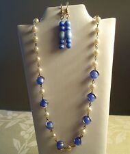 "Vintage Blue Cats Eye and Faux Pearl 15"" Necklace & Matching Earrings"