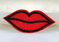 6PCS Red lips kiss patches Embroidered Cloth Iron-On Patch Sew Motif Appliques