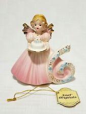 "Josef Originals Angel Girl Birthday Age 6 with Cake 4"" Japan Ceramic"