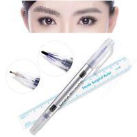 2Pcs Haut Tattoo Augenbrauen Marker Pen Messen Sie Lineal Messung Microblading