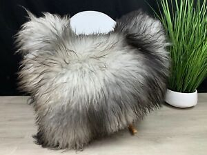 Icelandic Silver Gray Genuine Sheepskin Rug Seat Cover Pelt Pet bed Throw