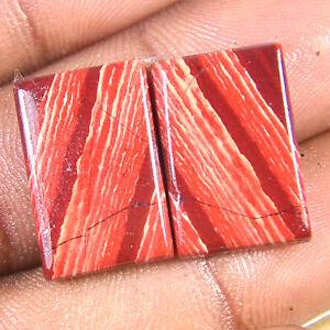 26.10 Carat Jaspilite Iron Red Jasper Natural Matched Pair Cabochon Gemstone