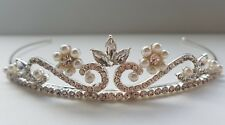 Bridal Bridesmaid Prom - Silver Clear Crystal/pearl  Tiara  *NEW IN* UK