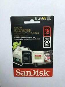 SanDisk Extreme microSDHC UHS-I Card with Adapter. New(sealed) 16GB Speed 90MB/s