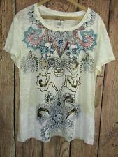 Wrangler Womens Burnout T Shirt Sz XXL Cream Floral Paisley NWT