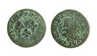 s57_92)  France Louis XVII Double Tournois 1619 G Poitiers  KM# 61.3