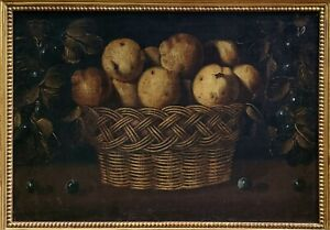 ANTIQUE 19TH C. AMERICAN SCHOOL FOLK-ART STILL LIFE w/ FRUIT OIL PAINTING