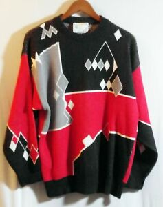 London Fog Medium 80's Black & Red Diamond Sweater