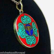 "Pendant Blue Red Turquoise Buddhist Multicolour round "" Eyes of Buddha "" a84"