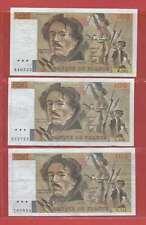 Lot de 3 x 100 FRANCS EUGENE DELACROIX 1985 &1986 ALPHABETS N.101 U.106 G.113