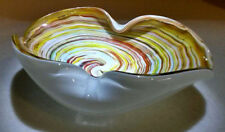 SUPERB VINTAGE HAND BLOWN MID CENTURY MULTI-COLOR SWIRL ART GLASS ASHTRAY BOWL