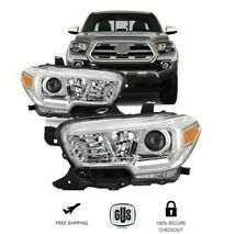 FOR 2016 2018 TOYOTA TACOMA FRONT HEADLIGHTS CLEAR LENS CHROME HOUSING  LH RH