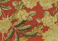 Braemore Fabric Cinnamon Green Gold Beige  Cotton Drapery Upholstery