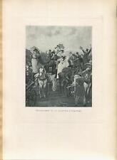 ANTIQUE GRAND PRIX AT LONGCHAMPS HORSE EQUESTRIAN RACE VICTORIAN WOMAN MEN PRINT
