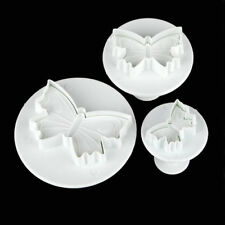 3Pcs Sugarcraft Cake Chocolate Molds Fondant Plunger Cookies Cutters Butterfly