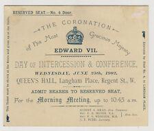 King Edward VII Coronation Ticket - Day Of Intercession