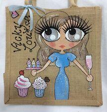 Personalised Jute Cup Cake Baker Celebration Gift Present Handbag Hand Bag