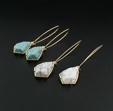 Fashion Gold Plated Blue/White Turquoise Natural Stone Hook Drop Earrings