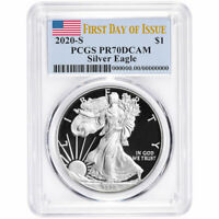 Presale - 2020-S Proof $1 American Silver Eagle PCGS PR70DCAM FDOI Flag Label