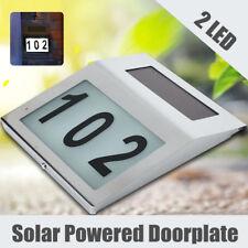 2 LED Solar Powered House Address Number Doorplate Light Wall Lamp Door Sign