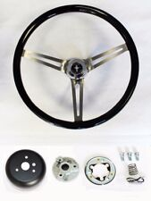 "84-89 Ford Mustang Wood Steering Wheel Mustang cap 15"" High Gloss Black Grip"