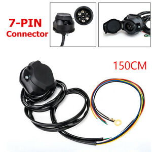 7-Way Trailer Extension Cord 1.5M 7 Pin Trailer Connection Wiring Cable Plug Kit